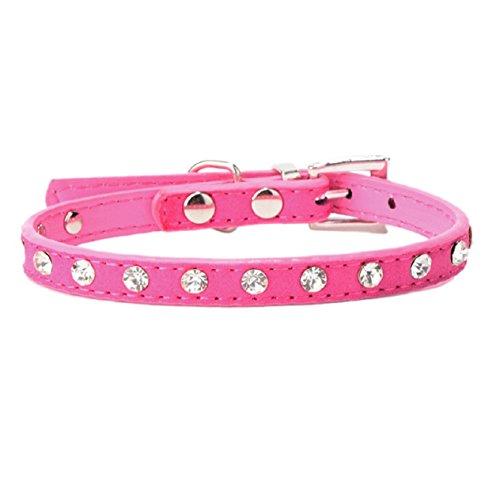 Malloom® Strass Einstellbar Leder Hund Welpen Katze Halsbänder Halskette Hals (heiß rosa)