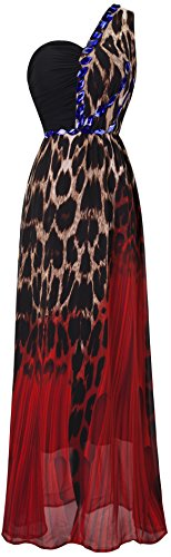 Angel-fashions Femme Epaule imprime leopard strass robe de soiree Maxi Rouge