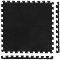 8 x Negro Colchonetas, Suelo para Gimnasio, EVA Puzzle 60cm x 60cm x12mm con Reverso Antideslizante, Certificacion Libre De Toxicos