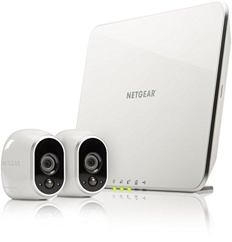 Arlo vms3230 sistema di videosorveglianza wifi con due telecamere di sicurezza senza fili a batteria, hd, visione notturna, interno/esterno, app android & ios, funziona con alexa e google wifi