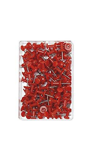 Wedo 54202 Pinnadeln Diabolo-Form, Länge 2,3 cm, Kopfdurchmesser 9 mm, Nadellänge 1,1 cm, 100 Stück in Klarsichtdose, rot