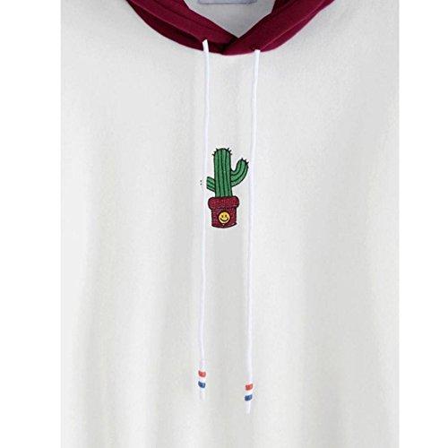 àbbigliamento donna, ASHOP Abbigliamento Donna Manica Lunga Camicetta con Cappuccio Pullover con Cappuccio e Felpa con Cappuccio a Maniche Lunghe con Stampa Cactus Vino Rosso