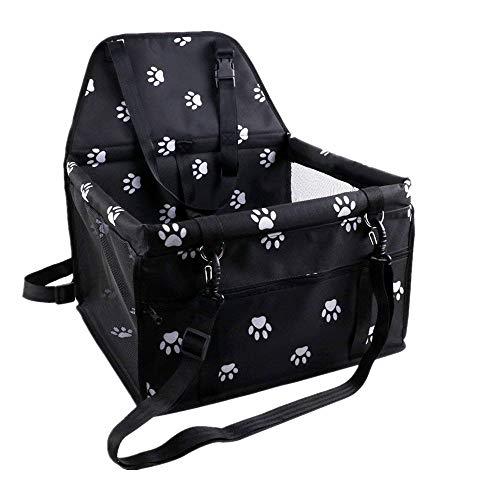 Haustier-Autositz für Hundekatze, tragbare und atmungsaktive Tasche mit Sicherheitsgurt, Hundeträgersicherheitsstall für die Reise mit Clip-on-Leine und Aufbewahrungspaket mit 2 Haltestangen, Schwarz -