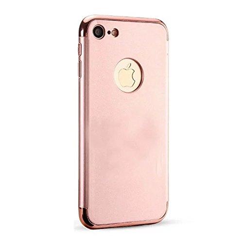 iPhone 7 Coque,Lantier 3 en 1 ultra mince anti rayures anti empreintes digitales antichoc Electroplate Metal Texture Combo Cover affaire pour iPhone 7 4.7 pouces d'or Rose Golden