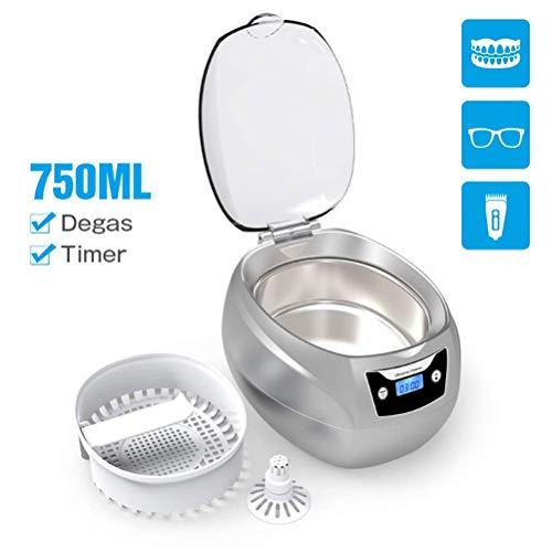 Ultraschallreiniger, 750ML Professionelle Schmuckreiniger Waschmaschine Maschine zum Reinigen von Brillen, Uhren, Halskette, Ringe, Zahnersatz, Mit Digital LCD Timer Edelstahl