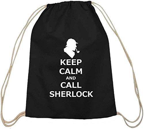 Shirtstreet24, Keep Calm And Call Sherlock, Baumwoll natur Turnbeutel Rucksack Sport Beutel, Größe: onesize,schwarz natur