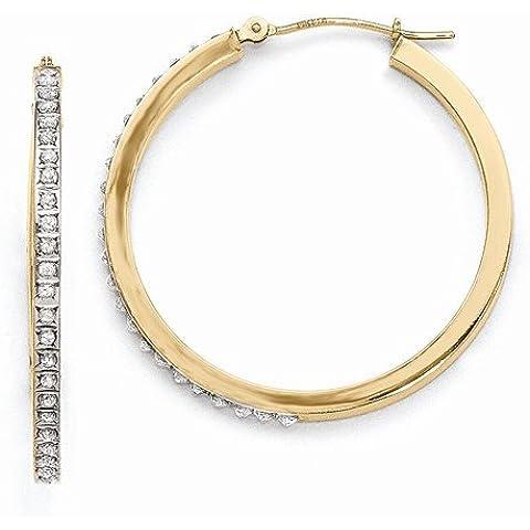 14K Amarillo Oro in & OUT Diamante Fascinación Redondo Con bisagras Pendientes de aro (0,01quilates.) (35mm x 2mm)