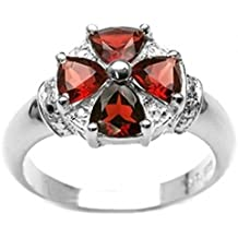 Schmuck-Schmidt-Ring-925 Sterling Silber-Rhodiniert 4 Granate 2,00 0058c2d914