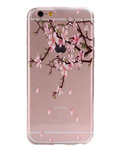 Cover trasparente nnopbeclik® Silicone trasparente Glitter per iPhone 6Plus 6S Plus Case, Cover ultra slim soft TPU lusso stampa bello, motivo floreale lucido cristallo animali protective parte super Blume K