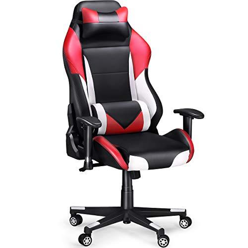 Sedia Gaming, SLYPNOS Gaming Chair Economica di Finta Pelle, Alta 131,5 cm, Inclinazione fra 90° e 135°, Portata 136 kg, Cuscini Lombare e Testa Amovibili e Flessibili, Rossa
