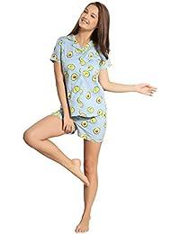 PIU Avocado Print Cotton Shorts Set Night Dress Nightwear Shirt and Shorts 1f6eab4a5