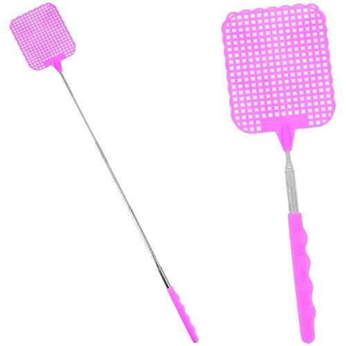 Lot de 2 tapettes à mouches, moustiques, guèpes, frelons, couleur rose avec manche télescopique, hyper pratique