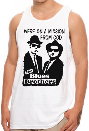 Mission from God - Tank Top Jake and Elwood Blues USA, M, Weiß (Sparen Jake)