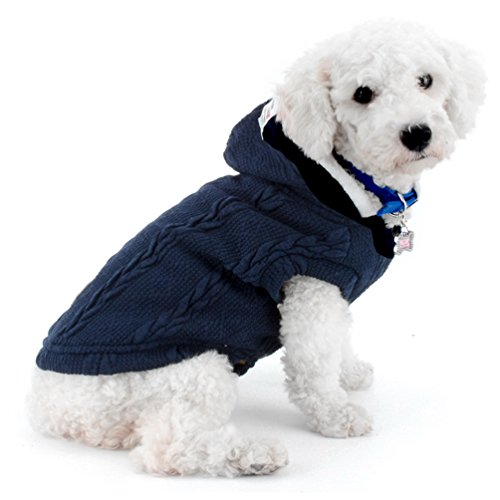 smalllee _ Lucky _ store Hund Hundestrickjacke Hoodie Weste kaltem Wetter Jacke Chihuahua Hoodies Hund Cat Winter Coat Boy Pet Kleidung für kleine Hunde Warm Bekleidung Blau S (Blaue Plaid-krawatte)