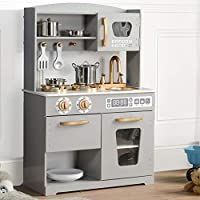 Wooden Pretend Play Toy Kitchen for Kids with Role Play with Accessories, Grey - HG19001G