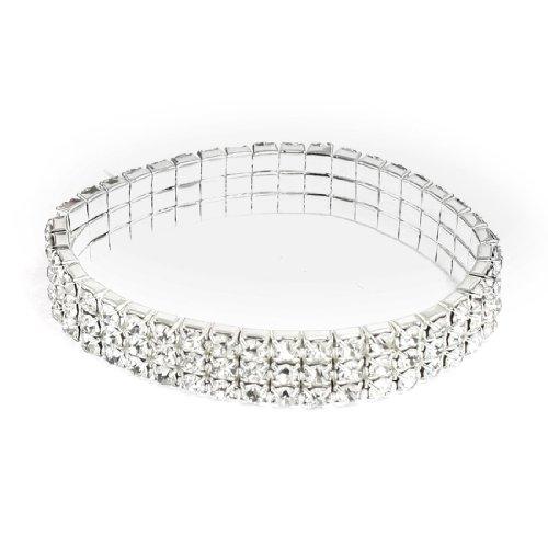 sourcingmap-chane-mtallique-ligne-3-pierres-strass-bracelet-lastique-en-plastique-de-ton-argent