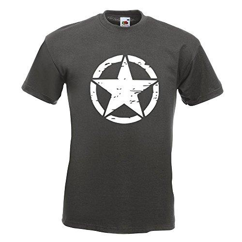 KIWISTAR - United States Army Star T-Shirt in 15 verschiedenen Farben - Herren Funshirt bedruckt Design Sprüche Spruch Motive Oberteil Baumwolle Print Größe S M L XL XXL Graphit