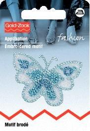 Motif br. papillon, petit format, bleu, organza