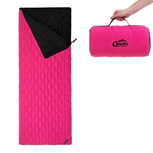 Qeedo Deckenschlafsack Holly, Sommerschlafsack (230 x 80 cm) inkl. Pillowbag, Leichter Hüttenschlafsack, Pink