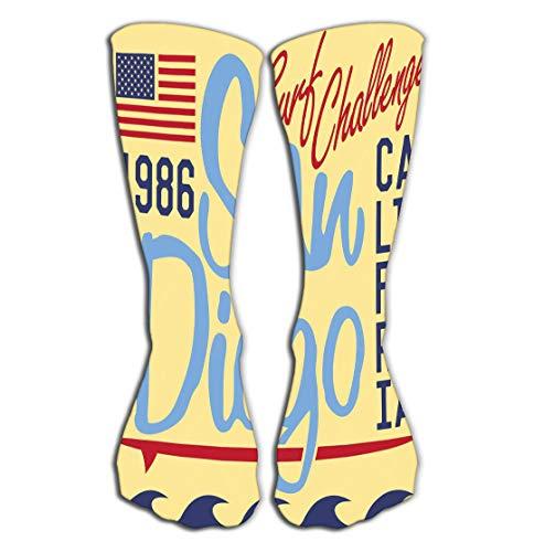 Socken Outdoor Sports Men Women High Socks Stocking Printing Design Typography Summer Badge Applique Label California san Diego Sign Tile Length 19.7