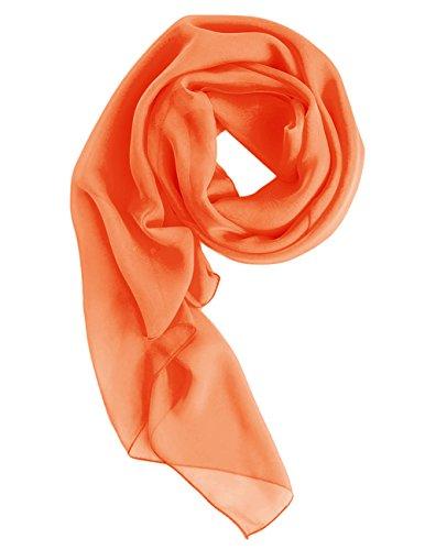 Dresstells Chiffon Schal Stola für Abendkleider in Verschiedenen Farben Orange 180cmX72cm