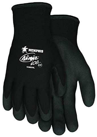 MCR Safety N9690L Ninja Ice Double Layer Nylon Shell Gloves with HPT Dipped Palm and Fingertips, 15-Gauge, Black, Large, 1-Pair by MCR Safety