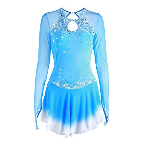 Kostüm Qualität Hohe - Handarbeit Eiskunstlauf Kleid Für Mädchen, Eislaufen Wettbewerb Professional Kostüm Mit Hoher Qualität Kristalle Langärmelige Rollschuhkleid Hellblau,16