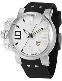 Shark Reloj Hombre de Cuarzo, Correa de Silicona Negra, Dial Blanco + Caja SH169+ZC155