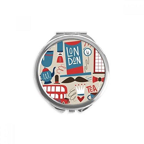 DIYthinker Big Ben britischer Bus England Flagge Spiegel Runde bewegliche Handtasche Make-up 2.6 Zoll x 2.4 Zoll x 0.3 Zoll Mehrfarbig
