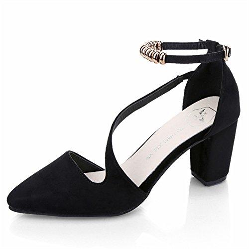 Version coréenne au printemps et en été chaussures de mode/bruts avec des chaussures à talons/boucle pointu Sandals A