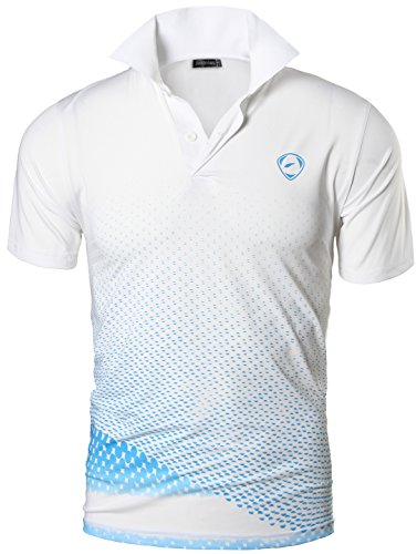 jeansian Homme de Sport Outdoor Manches Courtes Polos Quick Dry Men Casual Wicking Breathable Running Short Sleeved Fitness Polo T-Shirt Tops LSL195 WhiteBlue L(XL)
