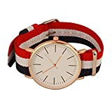 SS Collection Watches Analogue White Slim Dial Luxurious Blue/Red Fabric Strape Fashion Men's Wrist Watch