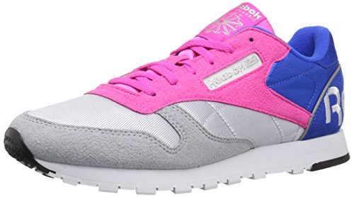 Reebok - Klassiches Leder Damen, Grau (Cloud Grey/Dynamic Pnk/Vital Blu/White/Black/Silv), 36.5 EU -