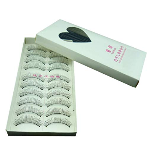 SMILEQ 10 Pairs Natural Fashion Eyelashes Eye Makeup Handmade Long False Lashes Sparse (Schwarz)