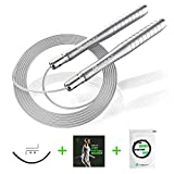 Guard Revival Corde à Sauter, 2 en 1 Jump Rope Set Facilement Réglable 3 m Câble, Fitness Speed Rope avec Steel Ball Bearings pour Entraînement, Crossfit, Boxe, MMA, Gym - Männer & Frau (Argent)