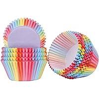 Papel para Cupcakes 200 Unidades Rainbow Papel para Magdalenas Muffins para Hornear Pastel Tarta Cumpleaños Bodas Fiesta