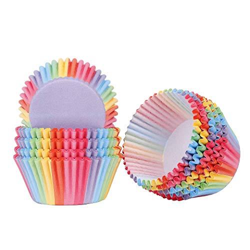 QH-shop Cupcake Wrapper Regenbogen Papier Fällen Liners Muffin Backförmchen für Dessert Hochzeit Geburtstag Party 200 Stück