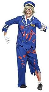 Smiffys Zombie Piloto / capitán del Traje con Chaqueta / Camisa / Pantalones y Sombrero (L, Azul)