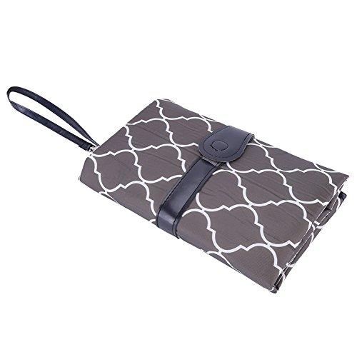 Zerodis Baby Wickelauflage Wickelunterlage mit Taschen Windeltasche Zubehör für Unterwegs Tragbar(Grau)