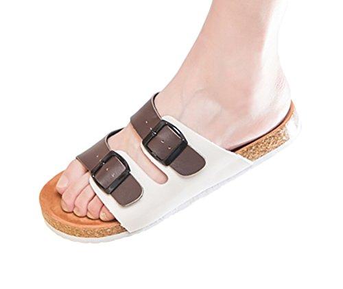 SK Studio Donna Pantofole da Spiaggia di Sughero Bassi Sandali dei Pistoni Ragazza Scarpe Senza Tacco Marrone+Bianco