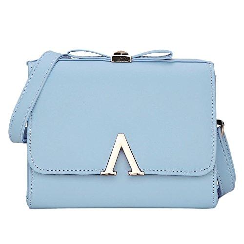 Donne PU Borsa Di Del Sacchetto Di Spalla Semplice Flip La Piccola borsa Pink Azzurro