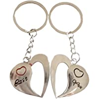 1 SET DI DUE PORTACHIAVI CON CIONDOLI A FORMA DI CUORE E SCRITTA LOVE YOU IDEA REGALO