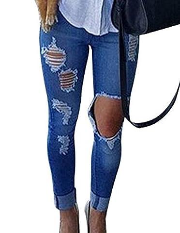 Burvogue Femmes Bleu Jean Jeans Extensible Skinny Délavé Pantalon - Femme, 2 Bleu, Large