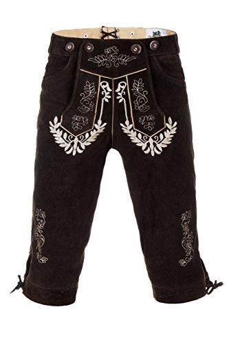 Edelnice Trachtenmode Herren Trachten Kniebund Lederhose Trachtenjunkie Dunkelbraun oder schwarz (52, Dunkelbraun)