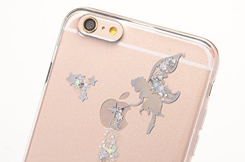 Sycode Case Cover per iPhone 6S Plus,Custodia per iPhone 6 Plus,Lusso Creative Trasparente Glitter Bling Brillante Sparkle Argento Fairy Fata Pattern Progettare Ultra Sottile Flessibile Morbida Silico Fata,Argento