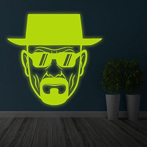(100x 100cm) Glowing Vinyl Wand Aufkleber Breaking Bad Heisenberg mit Sonnenbrille/Glow in Dark Walter White Aufkleber/Leuchtziffern Wandbild + Gratis Aufkleber Geschenk macht.