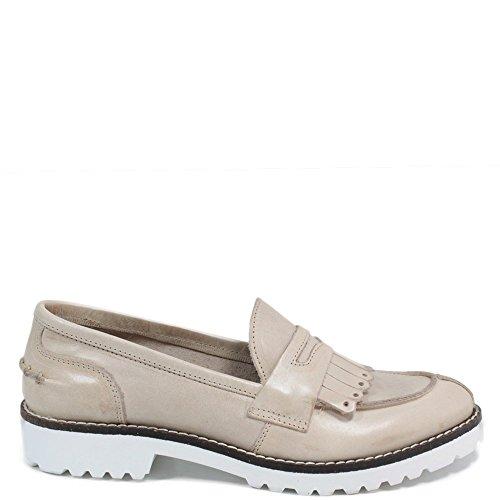 Damen Halbschuhe Mokassin Loafers Made in Italy Echtleder 0031 Marmo Beige Personal Shoepper Marmo