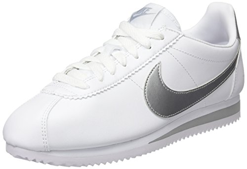 Nike Wmns Classic Cortez, Zapatillas para Mujer, Hueso (White/Metallic Silver/Wolf Grey), 41 EU
