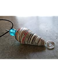 Handmade by Mimi Pinto Paper Bead Surf Style Pendant Necklace on Waxed cotton cord and clasp