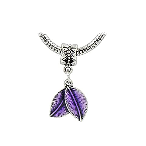 Bling Sterne Lucky Charm baumeln Blatt Charms für Pandora Armband violett